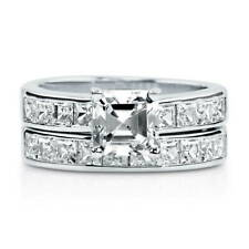BERRICLE Sterling Silver Asscher CZ Solitaire Engagement Wedding Ring Set