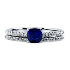 BERRICLE Sterling Silver Cushion Blue CZ Solitaire Engagement Wedding Ring Set