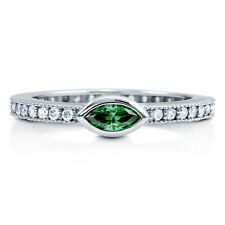 BERRICLE Silver 0.775 Carat Marquise Simulated Emerald CZ Solitaire Promise Ring