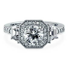 BERRICLE Sterling Silver Round Cut CZ Halo Art Deco Engagement Ring 1.94 Carat