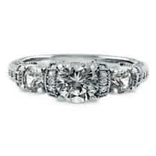 BERRICLE Sterling Silver 1.65 Carat CZ 3-Stone Art Deco Promise Engagement Ring