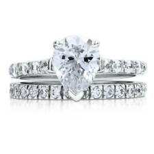 BERRICLE Sterling Silver Pear CZ Solitaire Engagement Ring Set 2.4 Carat