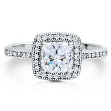 BERRICLE Sterling Silver 1.02 Carat Cushion Cut CZ Halo Promise Engagement Ring