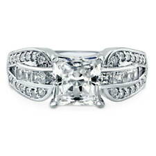 BERRICLE Silver Princess Cubic Zirconia CZ Solitaire Engagement Ring 3.02 Carat