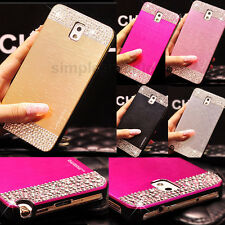 Bling Crystal Brushed Metal ALUMINUM PC Back Case Cover for Samsung  Phones