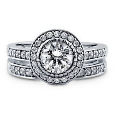 BERRICLE Sterling Silver 1.73 ct.tw Round CZ Halo Engagement Wedding Ring Set