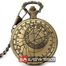Bronze Quartz Pocket Watch + Chain Hunter Compass Shape Pendant New Top P038