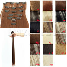 7 pcs 24 inch Long Straight Human Full head 16 Clip-in Hair Extensions US Stock
