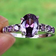 New Beautiful Amethyst Gemstone Jewelry Silver Ring Size 6 7 8 9 Free Shipping