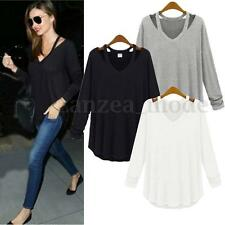 Womens Casual Tee Tops Cotton Soft LONG SLEEVE V NECK Loose Solid T-Shirt Blouse
