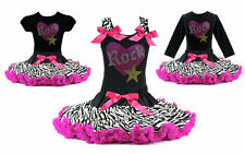 Pettiskirt Tutu Outfit Rock Star Hot Pink Zebra Birthday Girl Princess NWT 1-10Y