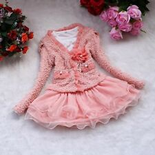 2pcs Pink Girl Toddler Baby Flower Coat + Tutu Wedding Dress Outfit Set 1-4Y T12