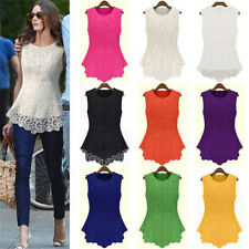 Womens Sleeveless Embroidery Lace Flared Peplum Crochet Top T-Shirt Vest UK 6-20