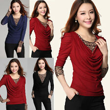 Fashion Basic Women Lady Long Sleeve Cowl Neck Casual Shirt Tops Blouse Leopard
