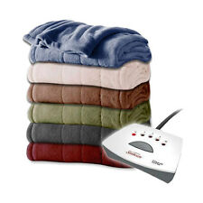 Sunbeam Channeled Velvet Plush Electric Heated Blanket Twin Full-Queen King Size
