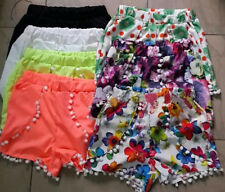 Pom Pom High Waisted Tassel Festival Tribal Print Beach Casual Gym Shorts 105