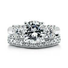 BERRICLE Sterling Silver Round CZ 3-Stone Engagement Ring Set 3.6 Carat