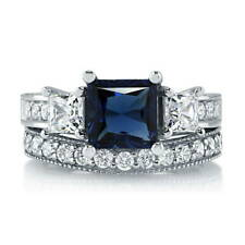 Silver Princess Simulated Sapphire CZ 3-Stone Engagement Ring Set 3.58 CT