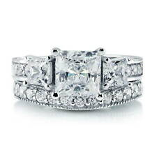 BERRICLE Sterling Silver Princess CZ 3-Stone Engagement Ring Set 3.58 Carat