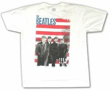 """THE BEATLES """"RED STRIPES"""" WHITE T-SHIRT NEW OFFICIAL ADULT 1964 US TOUR"""
