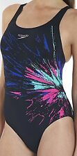 WOMENS SPEEDO ENDURANCE+  POWERBACK SWIMSUIT COLOUR BURST PRINT COSTUME D49