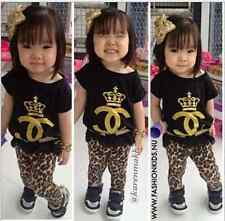 2PCS Baby Girl Short Sleeve T-shirt +Leopard Pants Clothes Set 2-8T