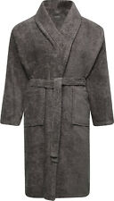 100% Cotton Terry Toweling Shawl Collar Grey Bathrobe Dressing Gown Bath Robe