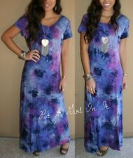 "PLUS SIZE PURPLE BLUE TIE DYE ""VIOLET SWEET PEA""  TALL LONG MAXI DRESS 1X 2X 3X"
