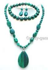 Big Drop 30*50mm Green Stripe Agate Pendant Necklace& bracelet& earring set-5686