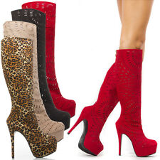 Women Sexy Cut Out Perforated Platform Knee High Stiletto Pump Tall Boot US 5-11