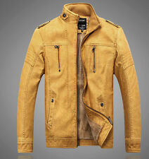 Explosion !NEW Men's coat cashmere thick leather jacket washed coats