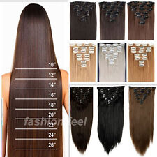 100% real Natural Full Head Clip in on Hair Extensions Extentions US SELLER hs09