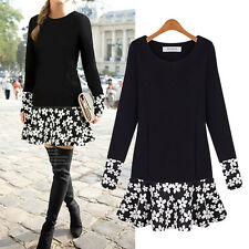 PLUS SIZE Women Long Sleeve Floral Blouse Bodycon Party Mini Dress Tops Tunic