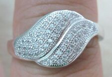 100% REAL 925 Sterling Silver Cluster Microsetting Cz Women Ring Size L N P R