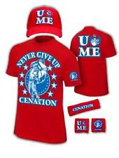 John Cena Kids Red Costume Hat T-shirt Wristbands Boys