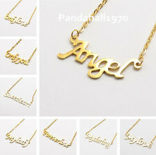Valentines Gifts Girls Golden 304 Stainless Steel Words Chain Pendant Necklace