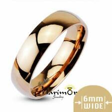 316L Stainless Steel Rose Gold Ion Plated Wedding Band Ring 6mm Wide Sizes 5-13