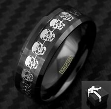 Black Tungsten Men's Silver Skull Design Inlaid Band Ring Size 9-13