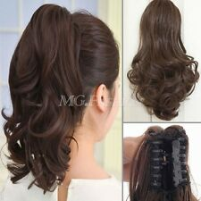 Long Straight Curly Hair Extensions Synthetic Clip-In Ponytail Claw Hairpieces