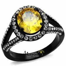3.26 Ct Oval Topaz Halo CZ Black Stainless Steel Engagement Ring Women's Sz 5-10