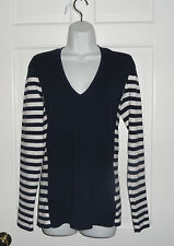 NWT LILLY  PULITZER TRUE NAVY GOOD REEF STRIPE ADELAIDE SWEATER L XL