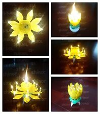 Spinning Musical Birthday 14 Mini Candle Yellow Lotus Flower Sparkle Cake Topper