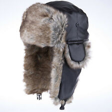 Men Women Bomber Aviator Trapper Trooper Winter Snow Ski Hat Cap Beaver Fur PU