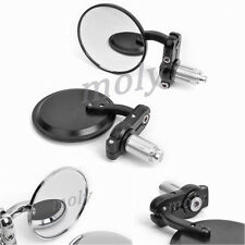 "Motorcycle 3"" Aluminum 7/8"" Clamp On Handle Bar End Side Mirrors Black/Chrome"