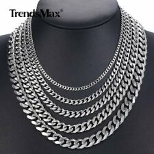 Customized 3/5/7/9/11MM Curb Cuban Silver Stainless Steel Necklace Men's Chain