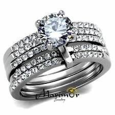 Stainless Steel 1.98Ct Round Cut CZ Engagement & 5 Band Wedding Ring Set Sz 5-10