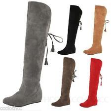 Snow Suede Flats Ladies Shoes Knee Length Boots Ribbon Slouch Winter Boot 43-34