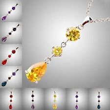Delicate Amethyst & Rainbow Topaz & Citrine Ruby Spinel Gemstone Silver Necklace