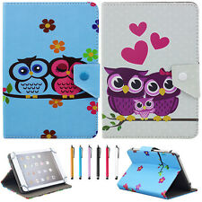 "Universal Print Cartoon Owl Flip PU Leather Case Cover For 7"" 7.9'' Tablet PC"