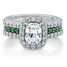 BERRICLE Sterling Silver 2.62 ct.tw Cushion CZ Halo Engagement Wedding Ring Set